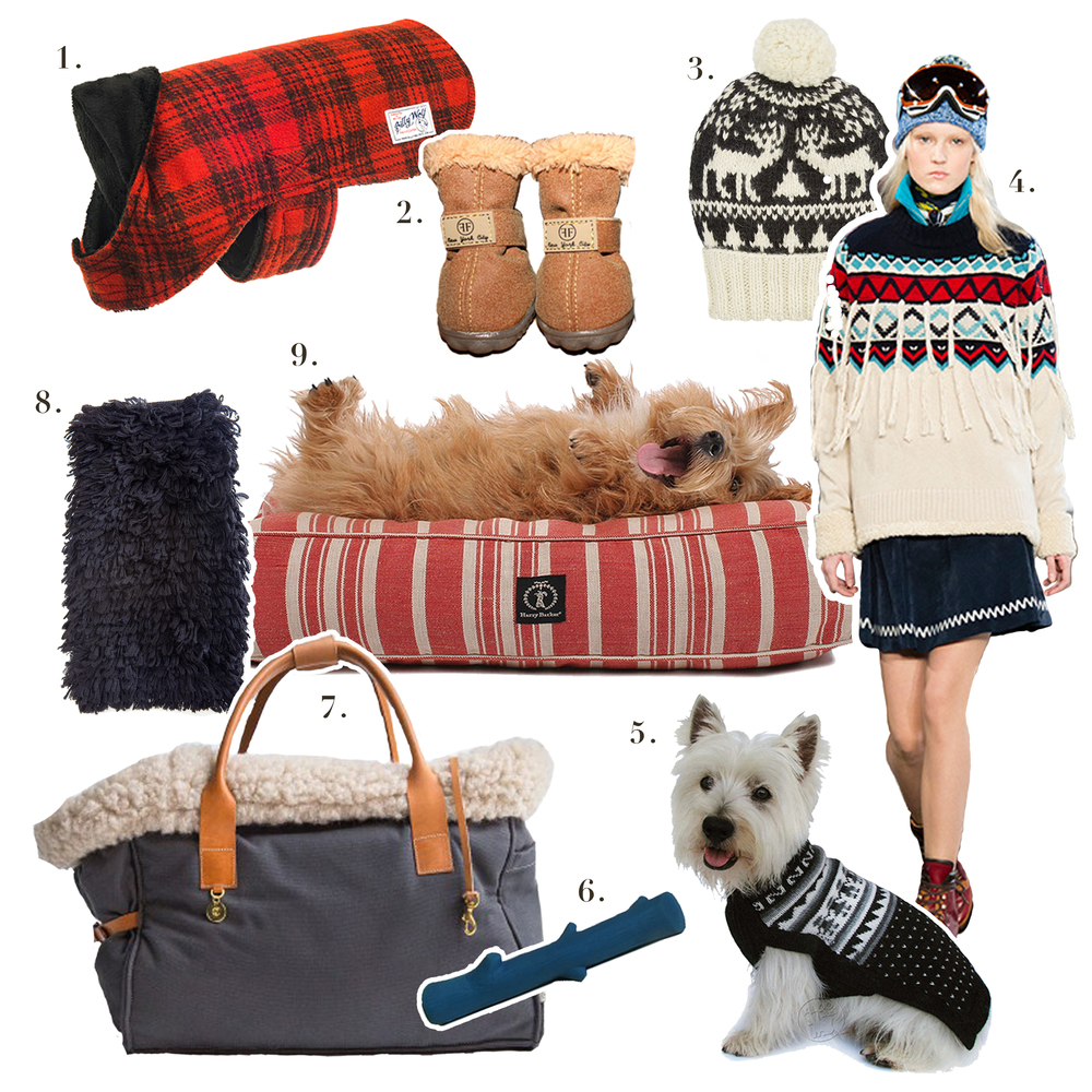 1. Billy Wolf,   Elliot Coat   2.  Furry Footwear,   The Chicago Winter Boot in Chestnut    3. Eugenia Kim,   Noel Patterned Alpaca Beanie    4. Tommy Hilfiger,   Tommy Hilfiger F/W 2014 Collection   5. Alqo Wasi,   Mystic Snowflake Sweater     6. George San Francisco,   Blue Latex Stick Chew Toy    7. Cloud7,   Dog Carrier Canvas Grey    8. WARE of the DOG available at Dog & CO,   Alpaca Hairy Sweater in Black    9. AND I was lucky enough to receive one of these Harry Barker,   Classic Stripe Rectangle Dog Bed in Red