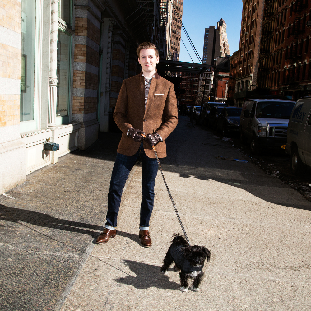 Grant McClelland walking Edie. Leash,   Goyard