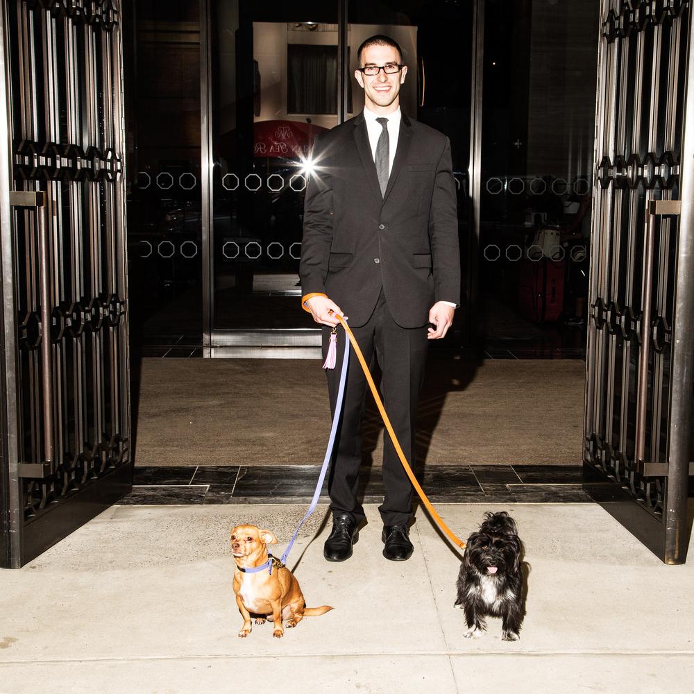 Jim walks Finn and Edie