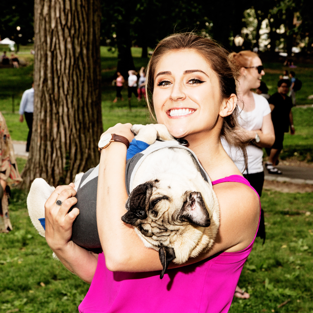 Leslie Mosier and her adorable   @itsdougthepug
