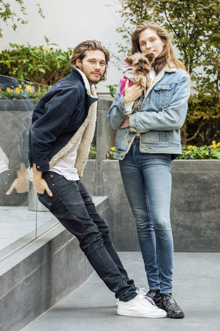 Kelsey/Next and her boyfriend, Zebedee Row, with their dog Waylan in a  Casa Luna  sweater.