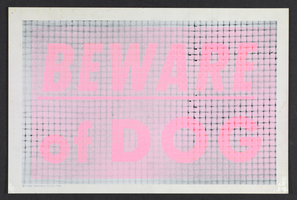 Beware of Dog, 1970, spray paint on plastic sign. @Robert Mapplethorpe Foundation. Used by permission.