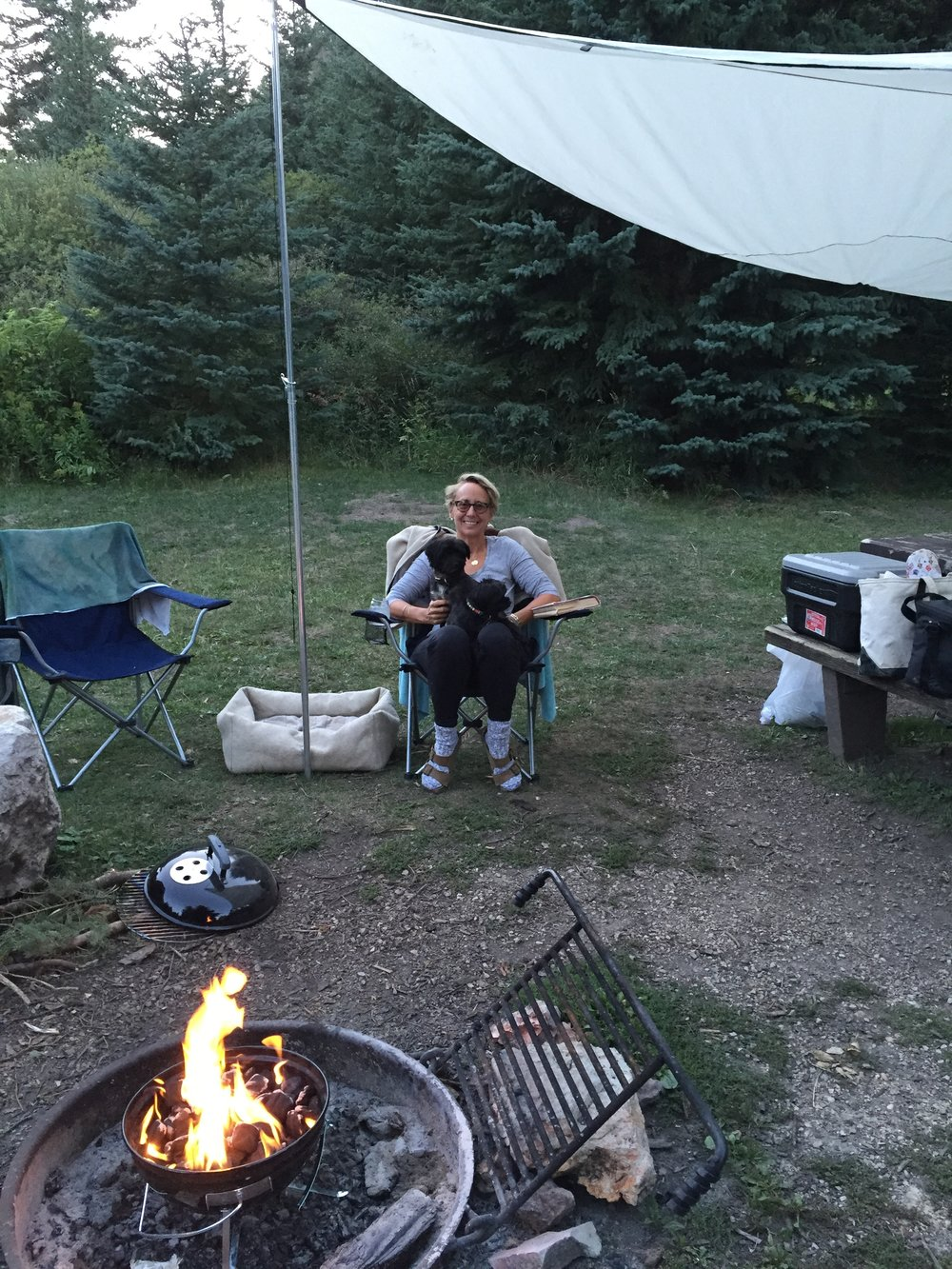 The Sizzle Sisters in South Dakota at the campfire