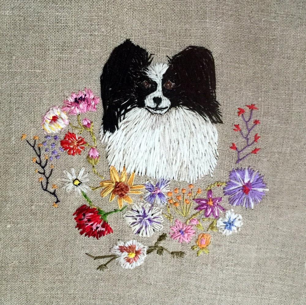 """Flora,2016 silk on linen 9"""" x 9"""" x 1"""""""
