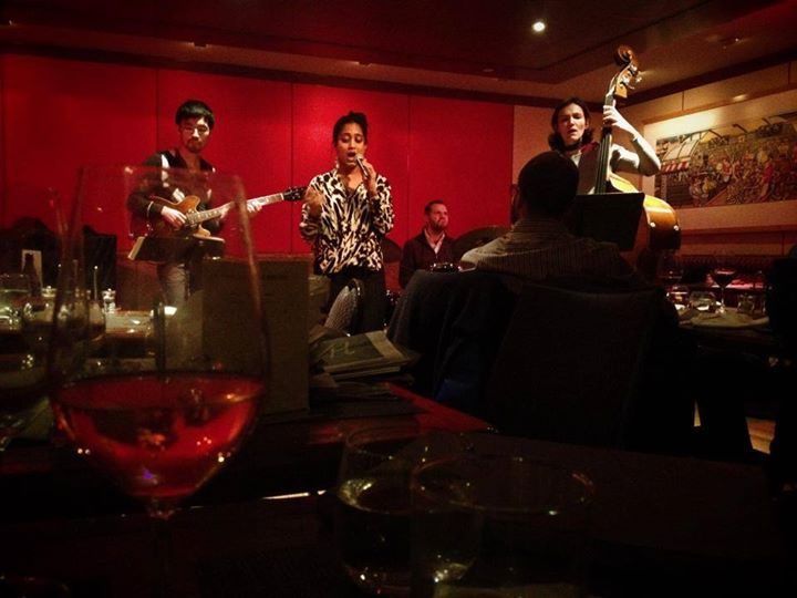 Monday night with a glass of rosé singing atJazz at the Kitano New York.