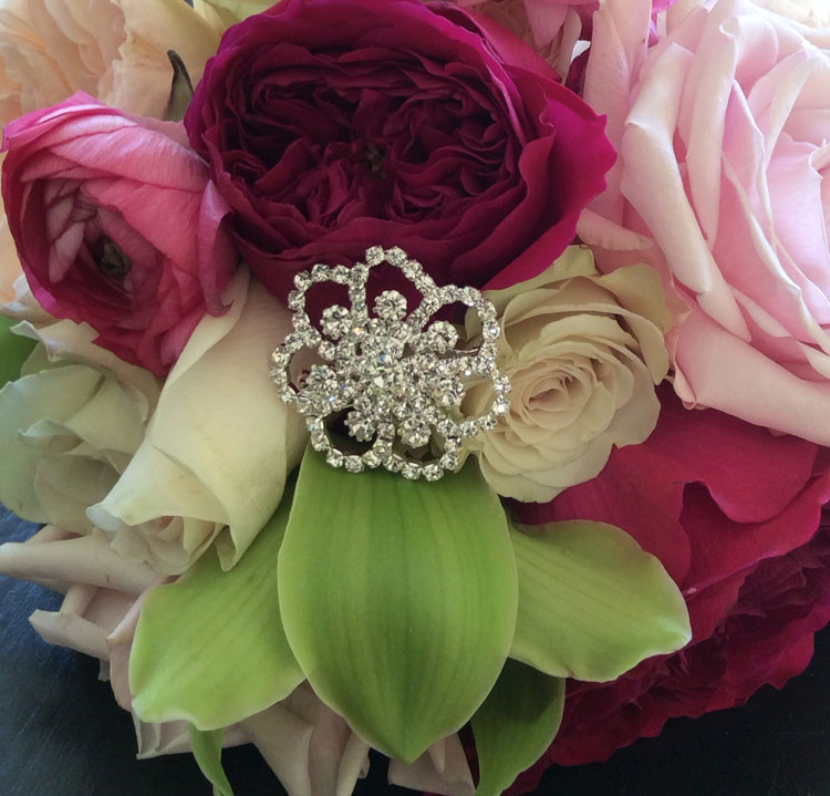 Bejeweled wedding bouquet