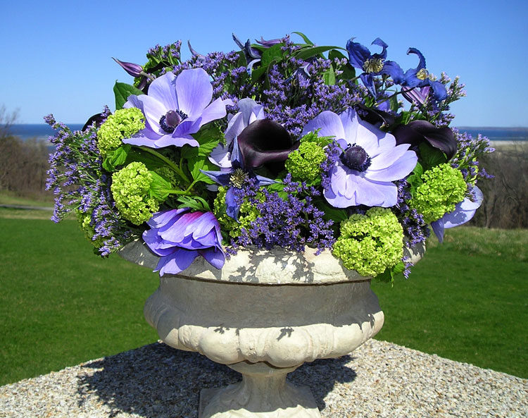 Viburnum & anemones with statice floral arrangement