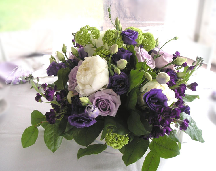 Lavender & white summer flower arrangement