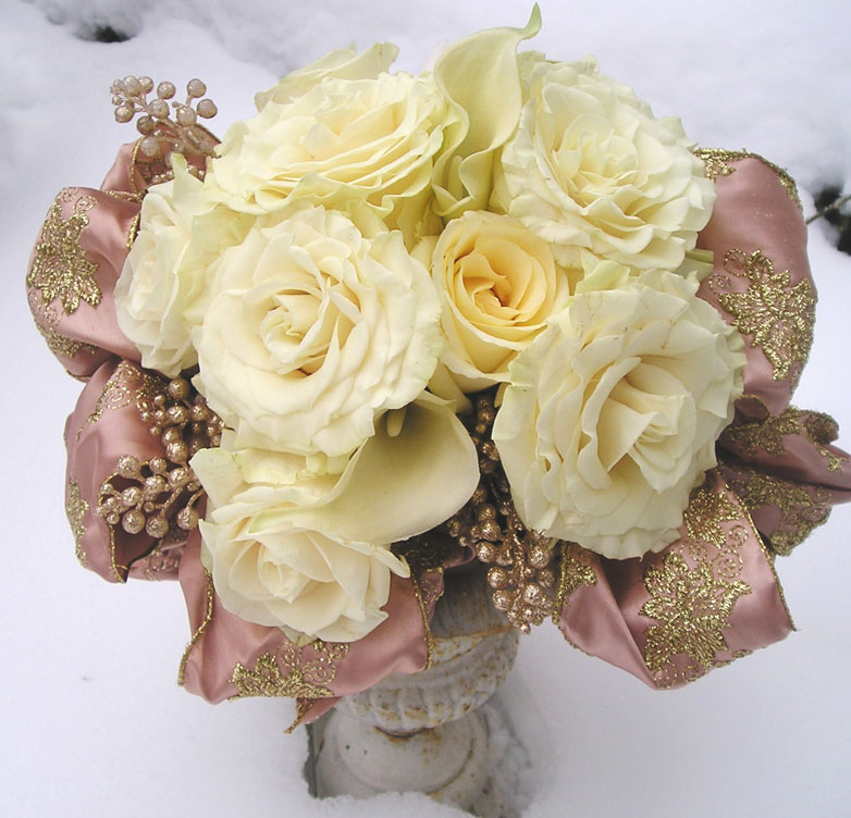 Winter roses & ribbons floral arrangement