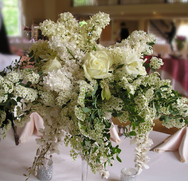 Garden flowers wedding reception centerpieces