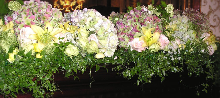 Hydrangea inspired wedding arrangements