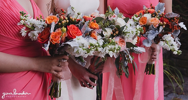 Coral & orange bridal bouquets