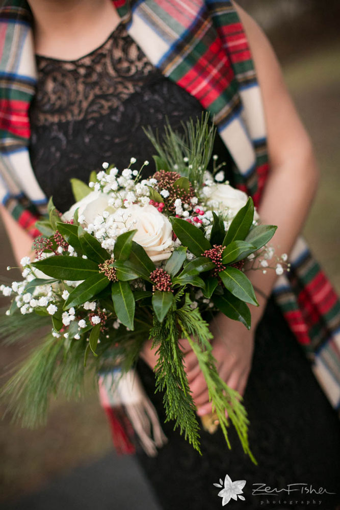 Winter wedding bouquet with greens & red berries
