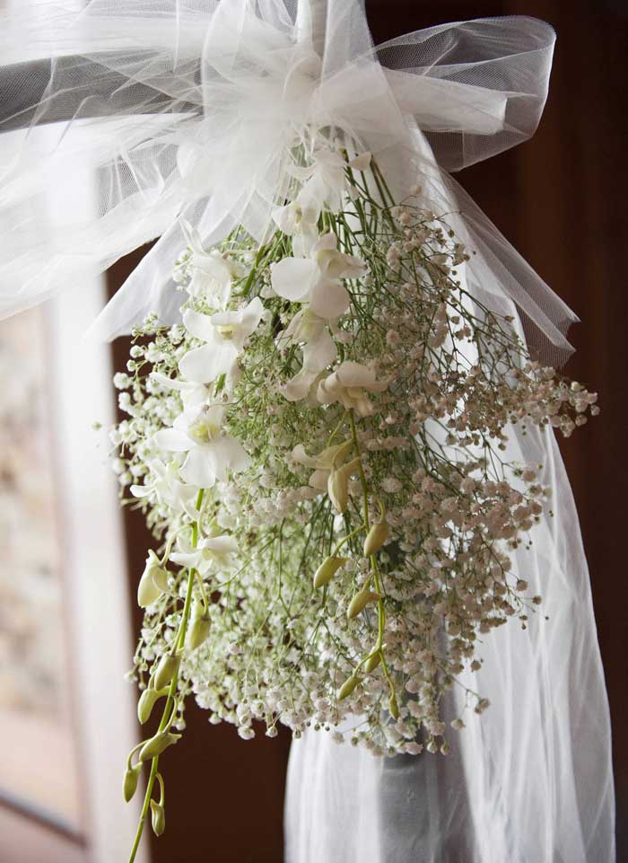 Baby's breath swags for the wedding ceremony