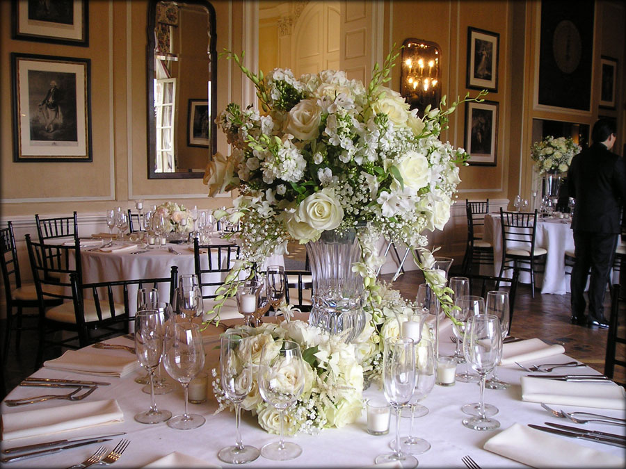 White Themed, Elegant Reception Floral Centerpieces