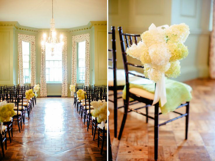 Wedding Ceremony Seating with Hydrangeas & Ribbons