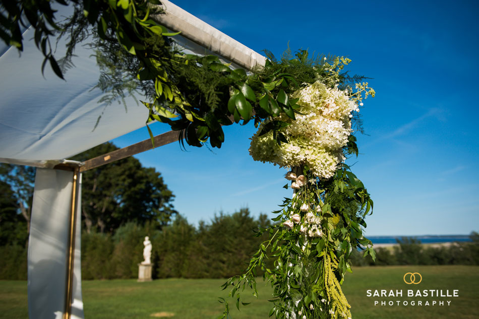 Chuppah with hydrangea & garland at The Crane estate