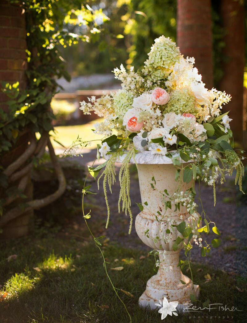 Wedding Ceremony Floral Arrangement with Garden Flowers