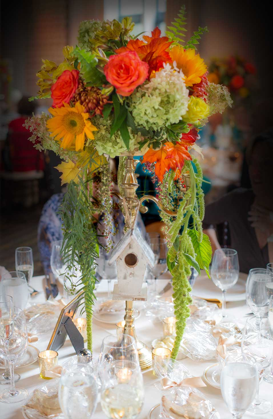 Birdhouse Themed Floral Centerpieces