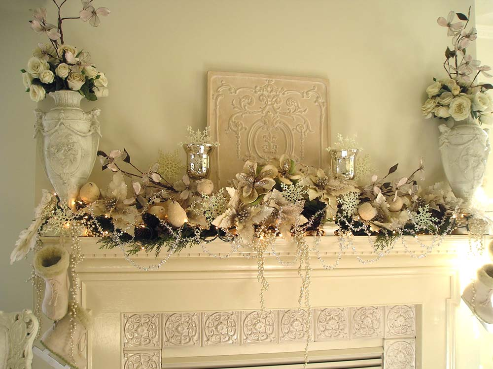 White Holiday Mantel Arrangement