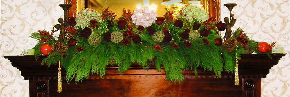 Winter Holiday Mantel Arrangement