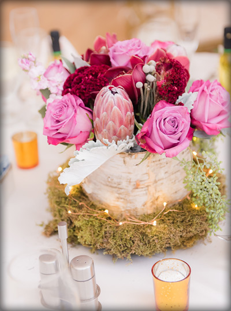 Mauve centerpieces Topsfield Commons : Borisyuk Photographers