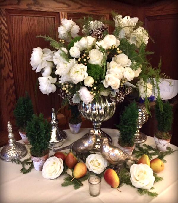 Peony arrangement in silver vase
