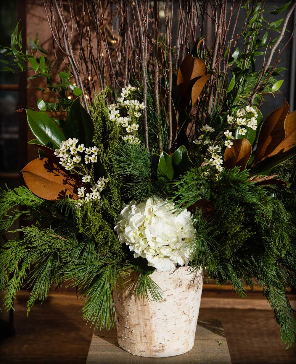 Tall Winter Ceremony Display with Branches : Heather Nicole Photography