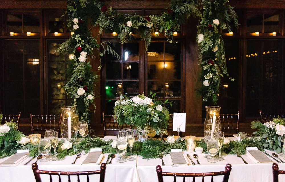 Wedding Tablescape with garland & roses
