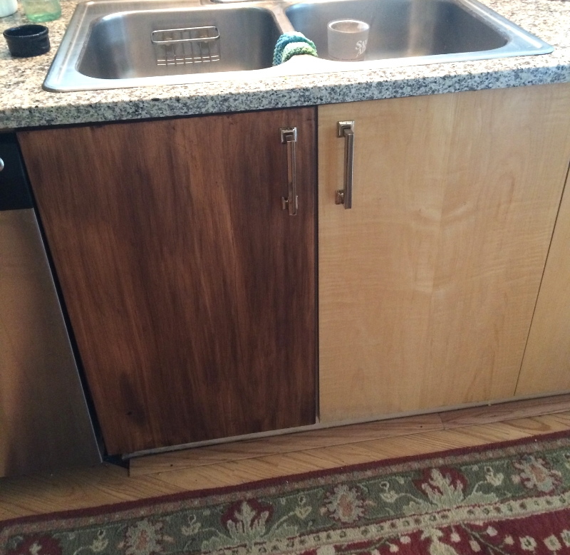 Gel stain laminate cabinets for Can you stain kitchen cabinets