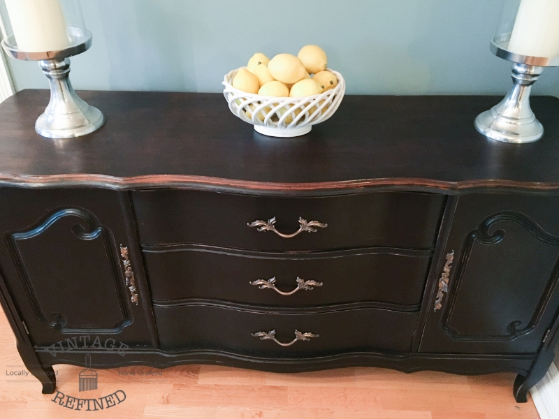 Vintage Refined Black French Provincial Buffet