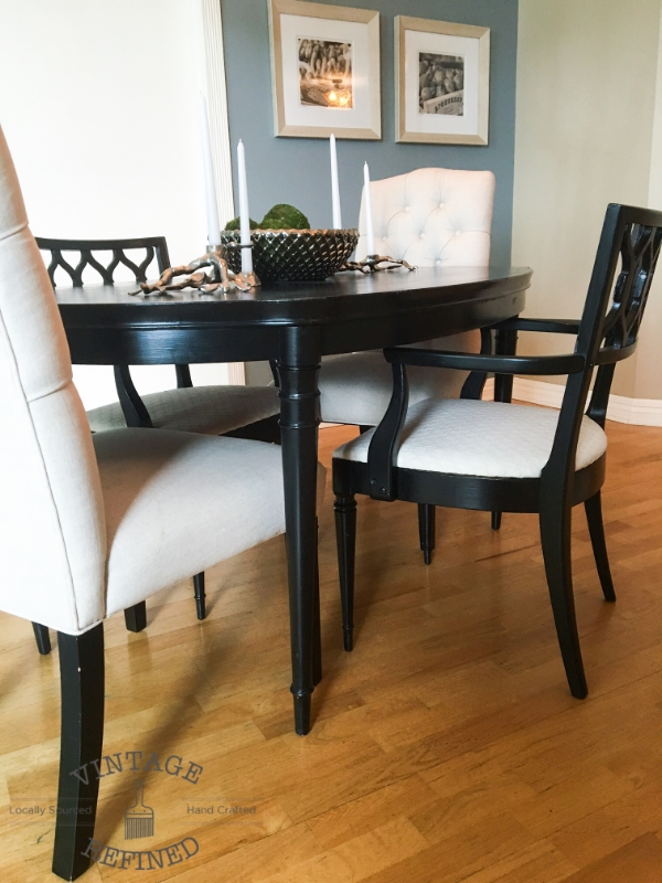 Vintage refined dining room update for Painting a dining room table ideas