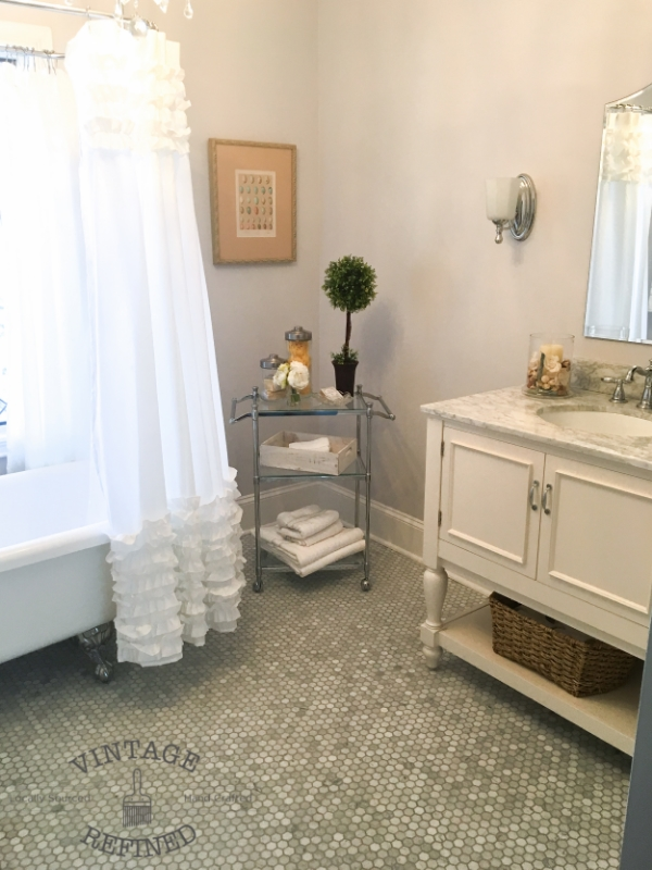 hexagon marble flooring, bathroom reveal, cottage bathroom, www.vintagerefined, Fab Friday Link party www.thepainteddrawer.com