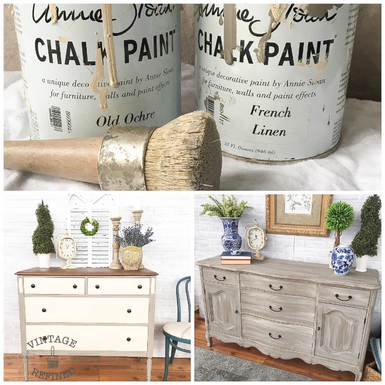 The Color Combo: Annie Sloan Chalk Paint In French Linen And Old Ochre.