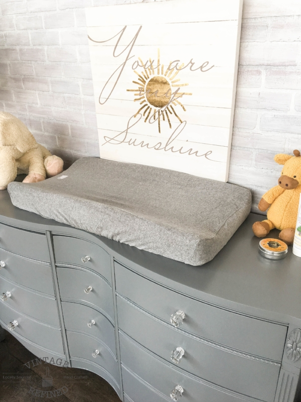 grey changing table