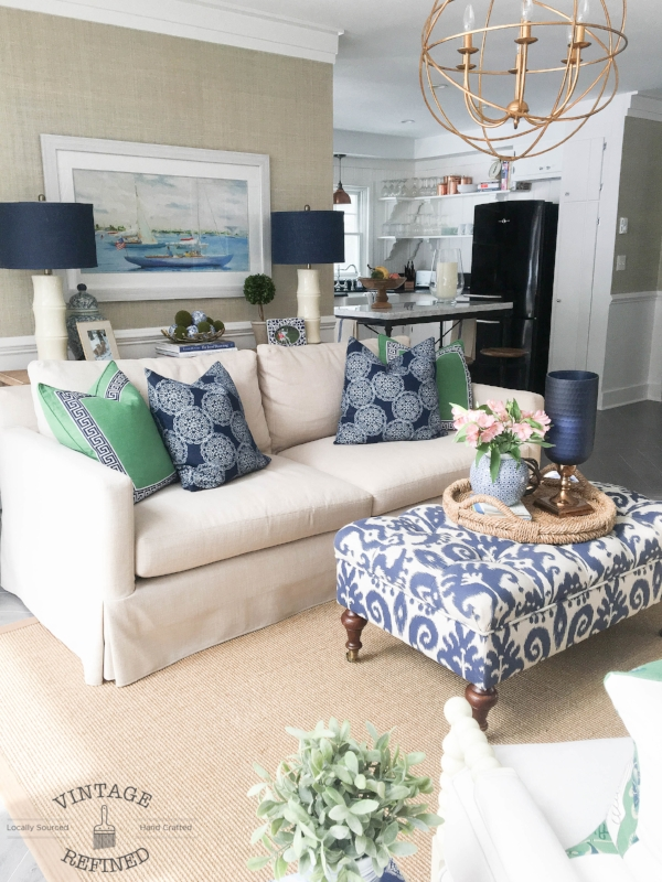 blue and white living room