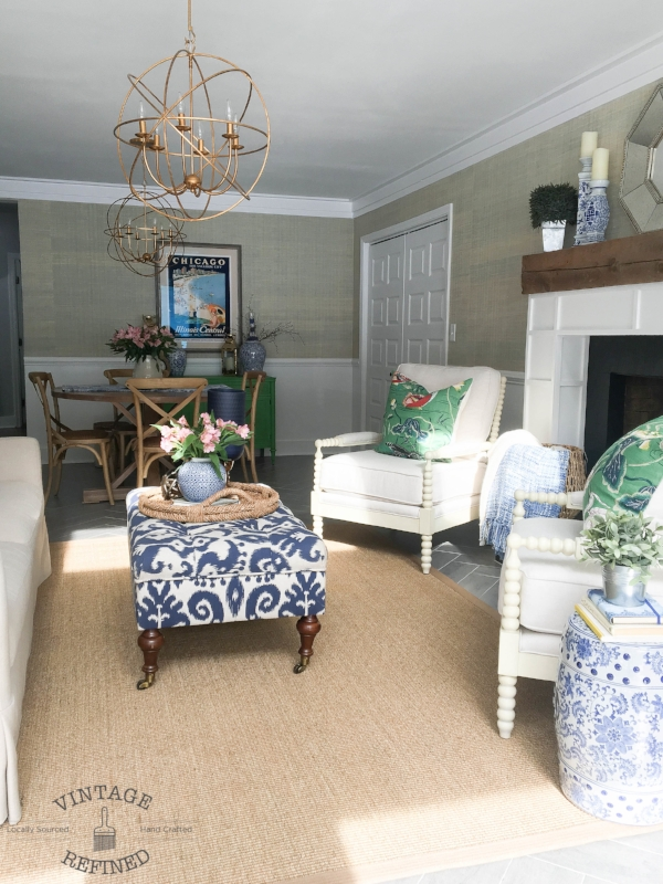 blue and white family room