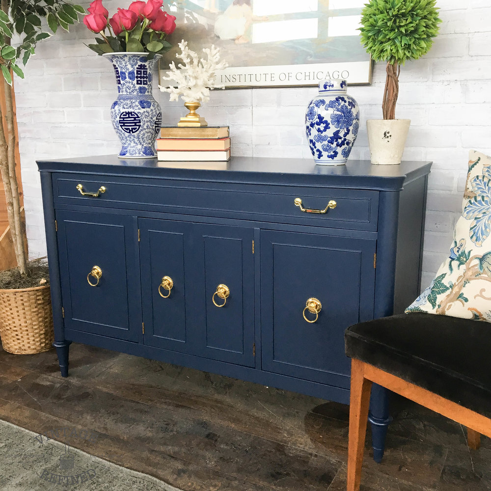 navy painted sideboard