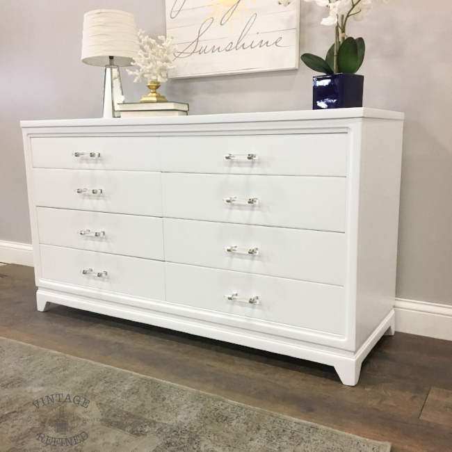 White lacquer dresser with lucite hardware