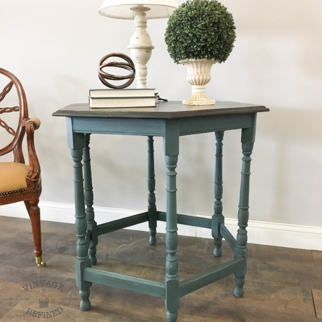 Blue side table with stained top