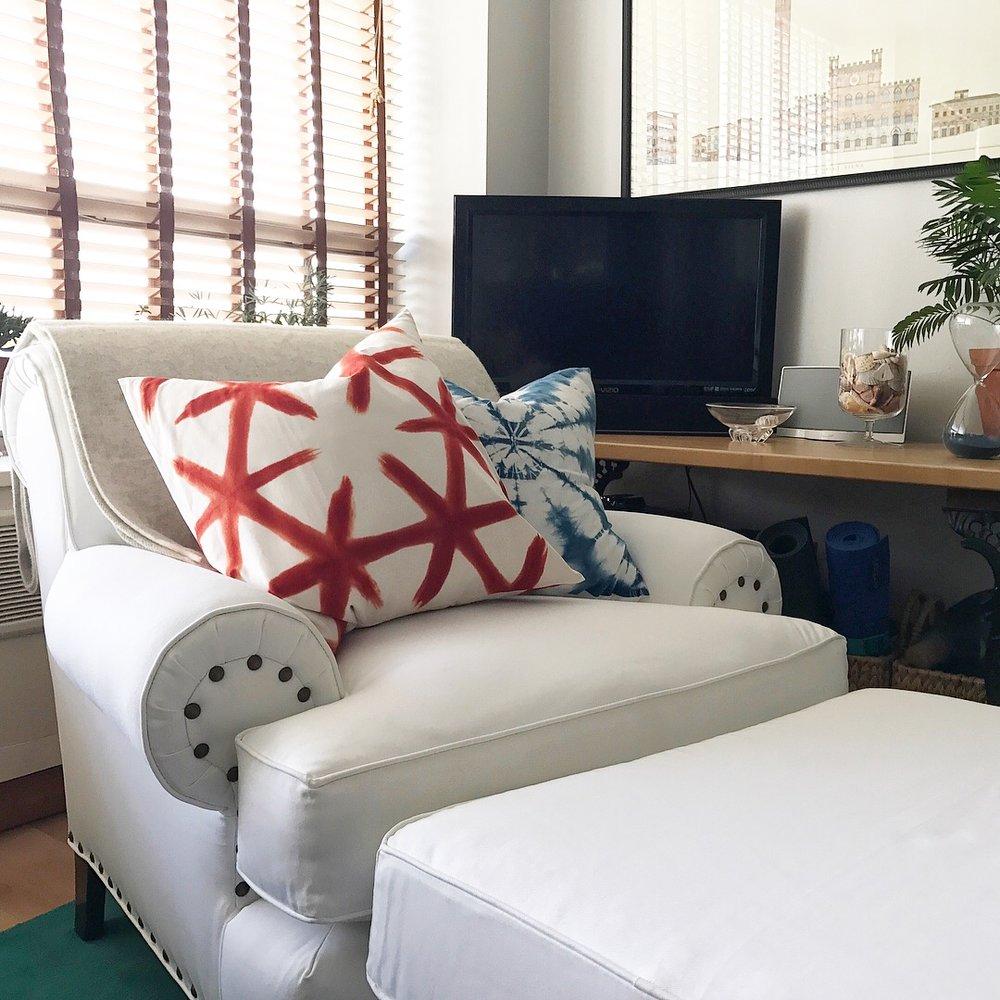 white denim chair