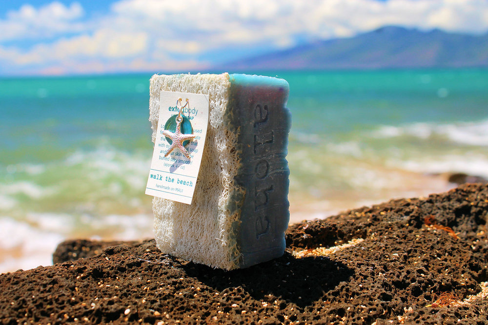 Exfolicare's exfolibody® loofah soap, as featured on the www.MadeInMauiCounty.com website, is made from scratch with coconut, macadamia nut and olive oils.