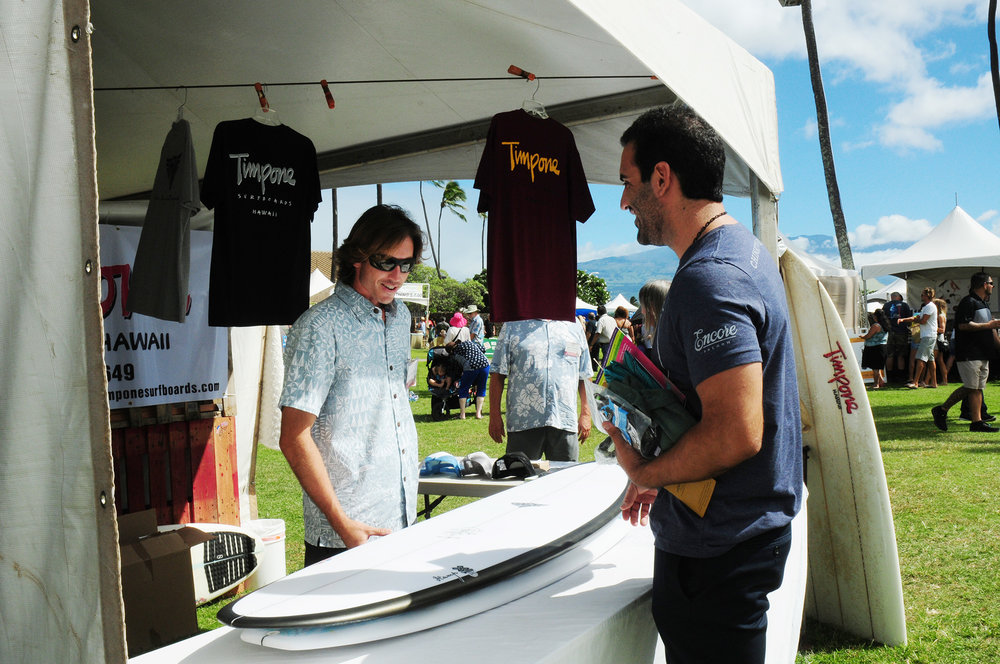 Jeffrey Timpone of Timpone Hawaii Surfboards will offer a variety of custom hand-shaped, Maui-built surfboards and t-shirts.