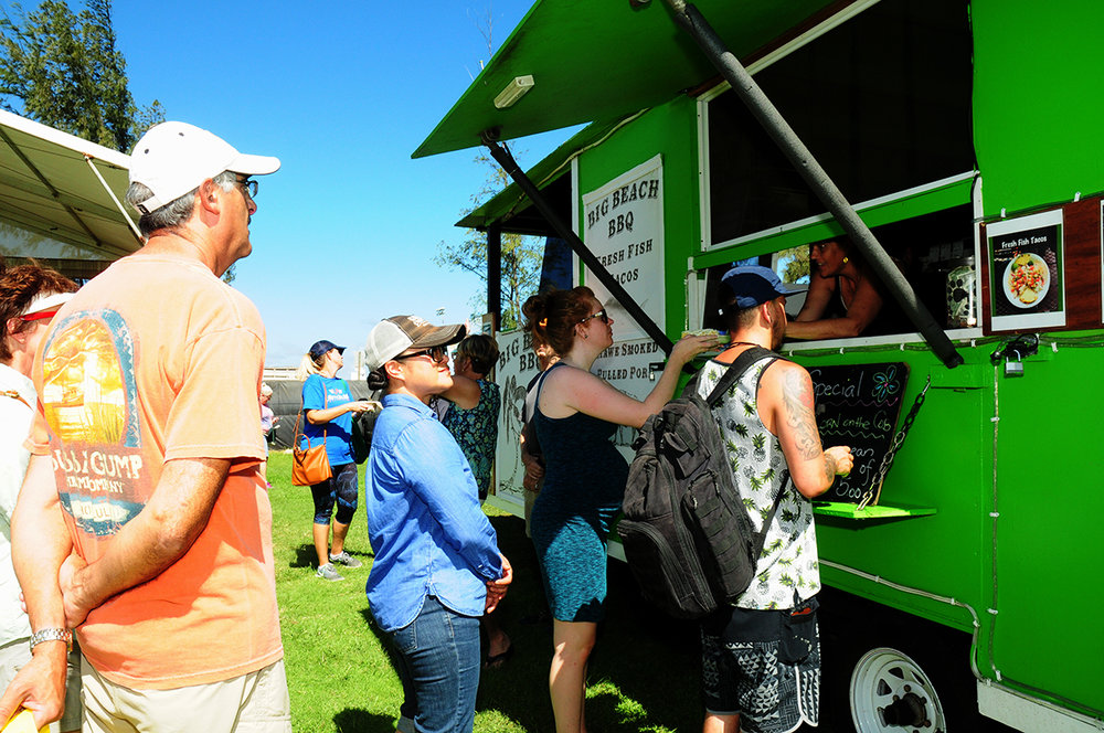 A bevy of menus were featured in this year's Pasha Hawaii Food Court. Pictured: Attendees line up at Big Beach BBQ, one of the 14 food trucks offered on Saturday, Nov. 3.