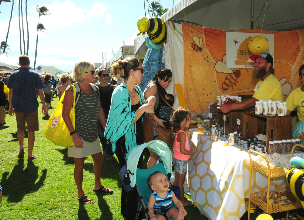Maui Honey Bee Sanctuary from Kula offered their beeswax lotions, sunscreen, lip balm, beeswax food wraps, body sprays, bath salt and shower scrubs.