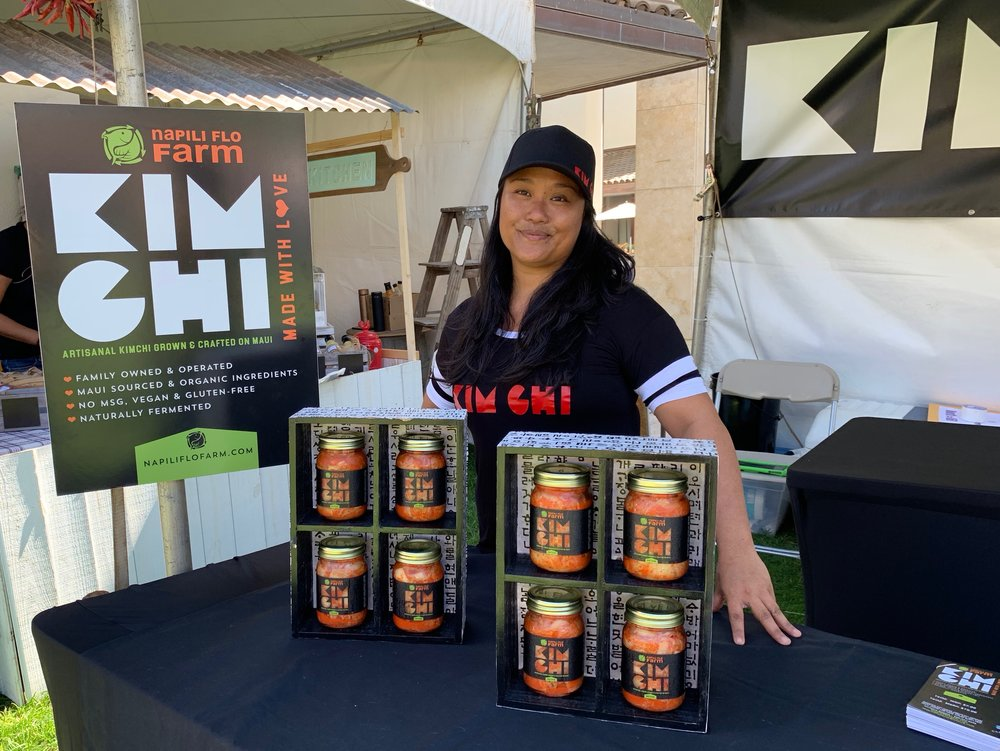 First-time festival vendor, Monica Bogar from Napili Flo Farm Kimchi, offered her naturally fermented artisanal kimchi grown and made on Maui.