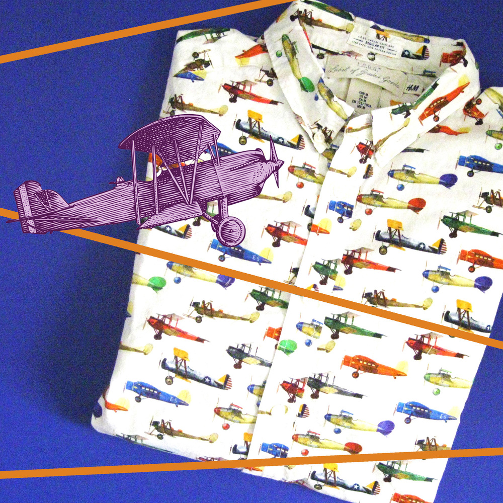 H and M shirt with planes