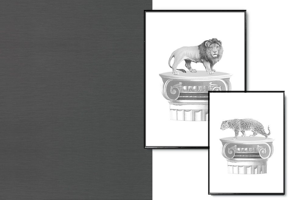 LION AND LEOPARD ON PLINTH - from €24