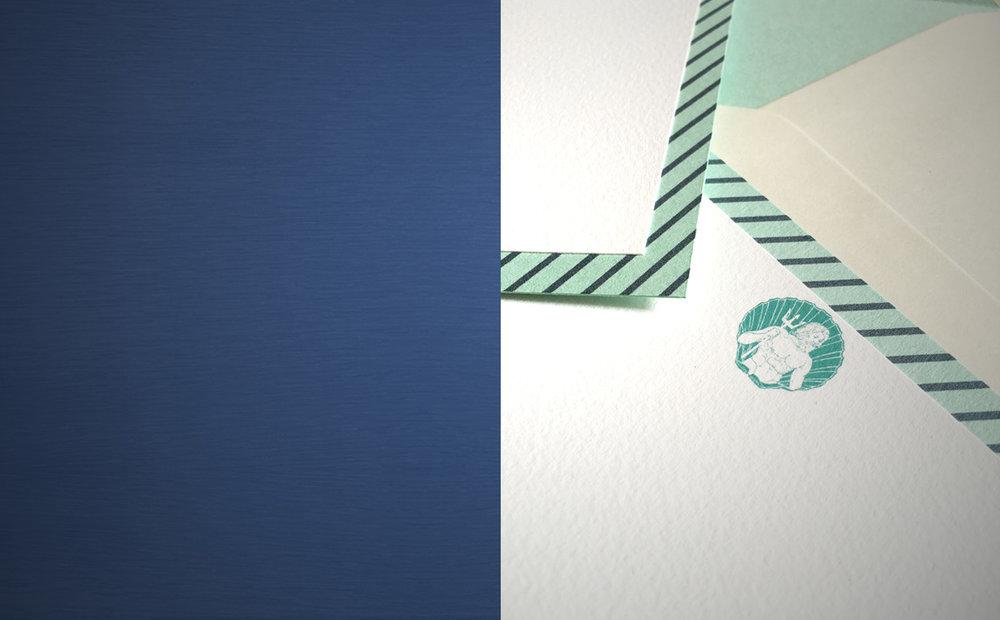 ESCRITURA - diseños elegantes que pueden personalizarse con tus iniciales y nombre, con sobres a conjunto