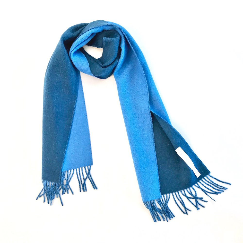 Scarves - Super soft, , premium baby alpaca scarves with fringe. Available in seven solids and seven double face color combinations. 71 inches x 12 inches.
